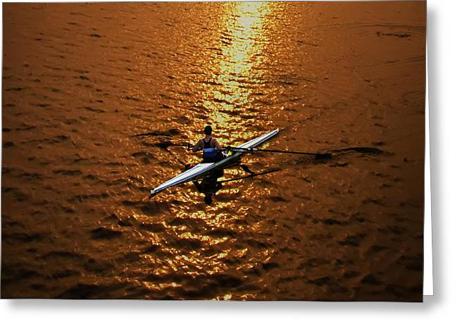 Rowing Crew Greeting Cards - Rowing into the Sunset Greeting Card by Bill Cannon