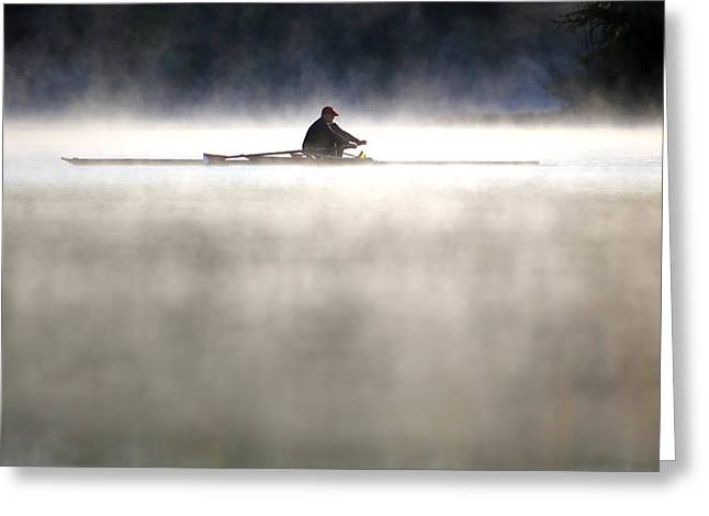 Rowing Greeting Cards - Rowing Greeting Card by Mitch Cat