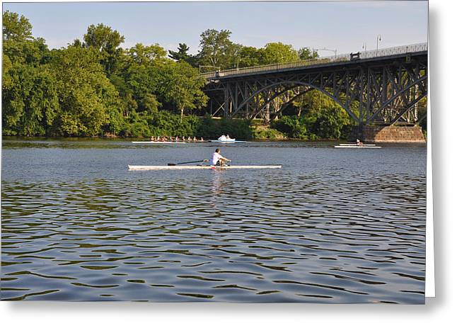 Rowing Crew Digital Art Greeting Cards - Rowing on the Schuylkill River Greeting Card by Bill Cannon