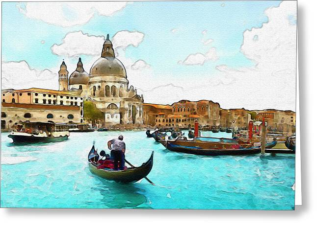 Rowing In Venice Greeting Card by Marian Voicu