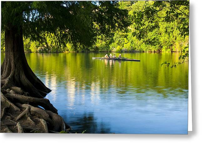 Rowing Past Red Bud Island Greeting Card by Mark Weaver