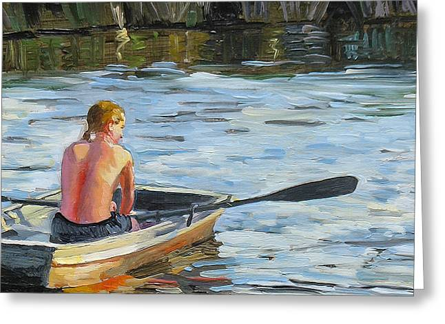 Realism Greeting Cards - Rowing the boat Greeting Card by Dominique Amendola