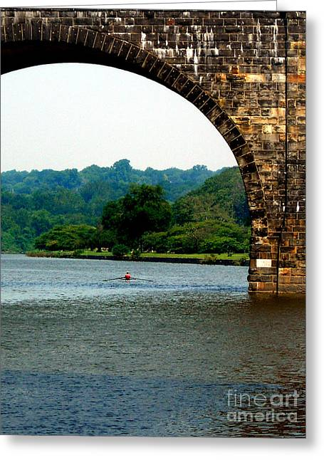 Penna Greeting Cards - Rowing The Schuylkill Greeting Card by Skip Willits
