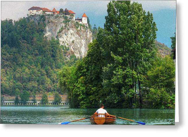 Row Boat Greeting Cards - Rowing Under the Castle Greeting Card by Douglas J Fisher