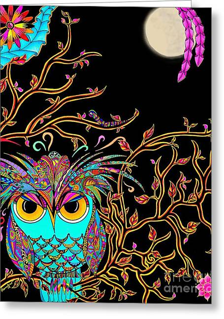 Psychedelic Owl Greeting Cards - Rowl Greeting Card by Rebeca Rambal