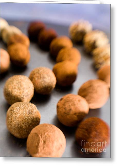 Curve Ball Greeting Cards - Rows of Chocolate Truffles on Silver Greeting Card by Iris Richardson