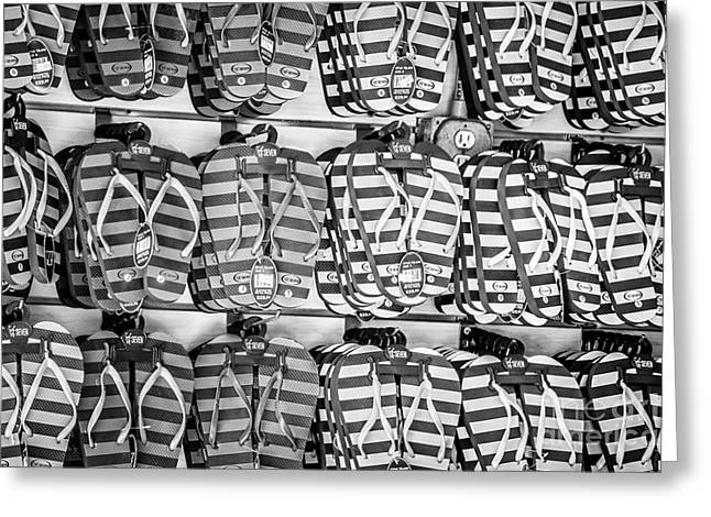 Flops Greeting Cards - Rows of Flip-flops Key West - Black and White Greeting Card by Ian Monk