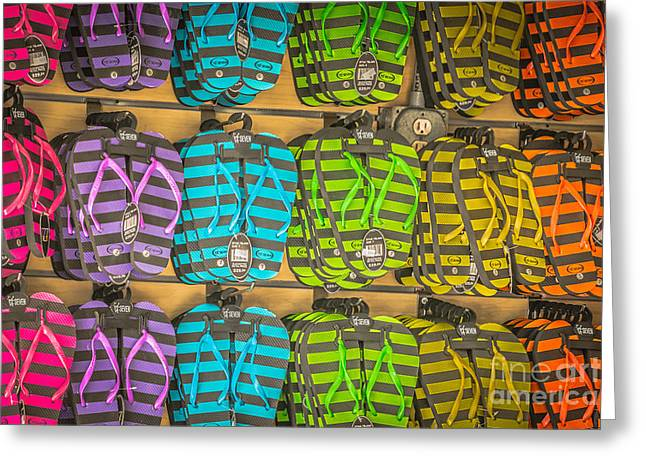 Rows Of Flip-flops Key West - Hdr Style Greeting Card by Ian Monk