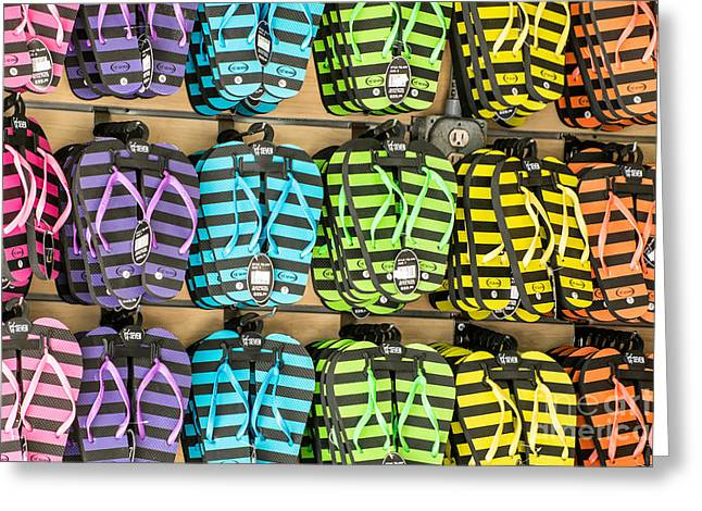 Flops Greeting Cards - Rows of Flip-flops Key West Greeting Card by Ian Monk