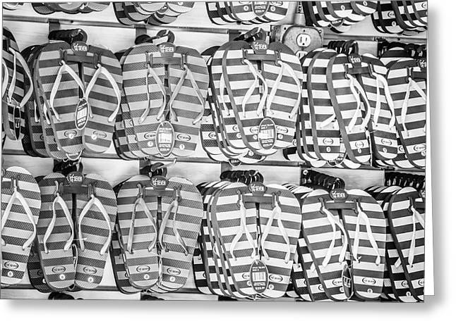 Flops Greeting Cards - Rows of Flip-flops Key West - Square - Black and White Greeting Card by Ian Monk