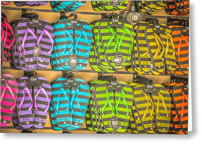 Rows Of Flip-flops Key West - Square - Hdr Style Greeting Card by Ian Monk