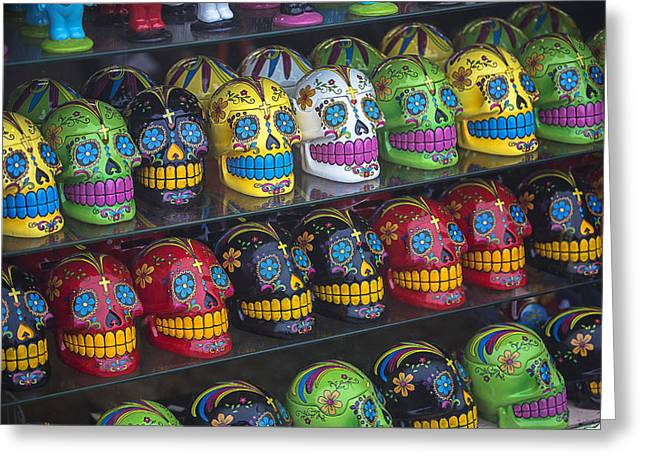 Cranium Greeting Cards - Rows of skulls Greeting Card by Garry Gay