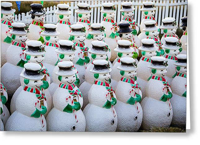 Fence Row Greeting Cards - Rows of snowmen Greeting Card by Garry Gay
