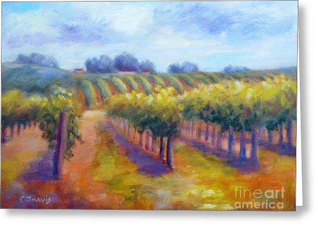 Rows Of Vines Greeting Card by Carolyn Jarvis