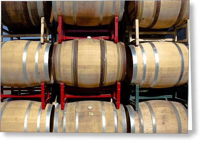 Barrel Roll Greeting Cards - Rows of Wine Barrels Greeting Card by Richard Cheski