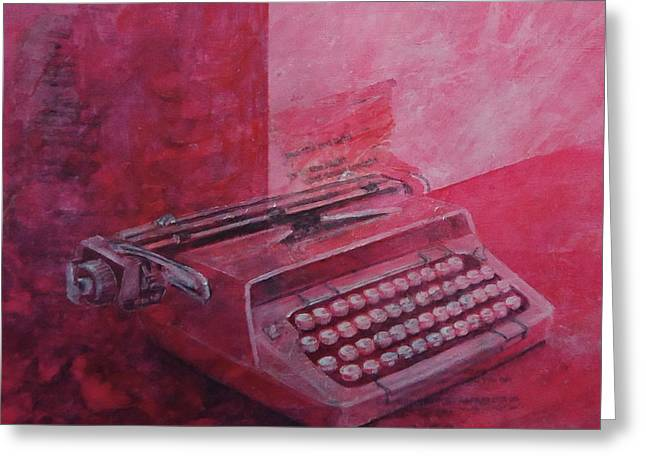 Typewriter Mixed Media Greeting Cards - Roxanne Greeting Card by Paul OBrien