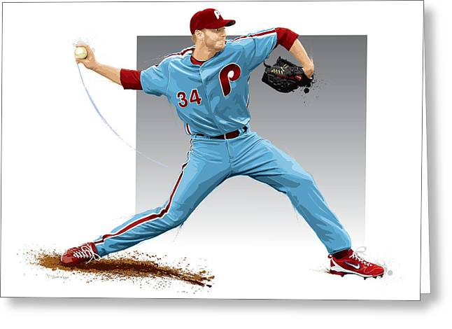 Pitcher Greeting Cards - Roy Halladay Greeting Card by Scott Weigner