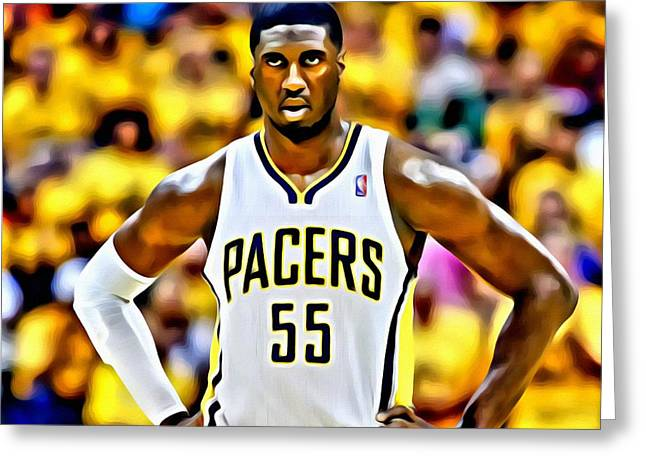 Slamdunk Greeting Cards - Roy Hibbert Greeting Card by Florian Rodarte