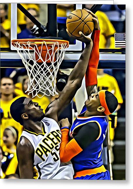 Best Sellers -  - Slamdunk Greeting Cards - Roy Hibbert vs Carmelo Anthony Greeting Card by Florian Rodarte