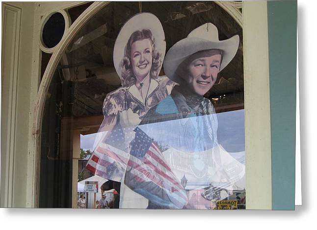 Autry Greeting Cards - Roy Rogers and Dale Evans cardboard cut-outs Tombstone Arizona 2004 Greeting Card by David Lee Guss