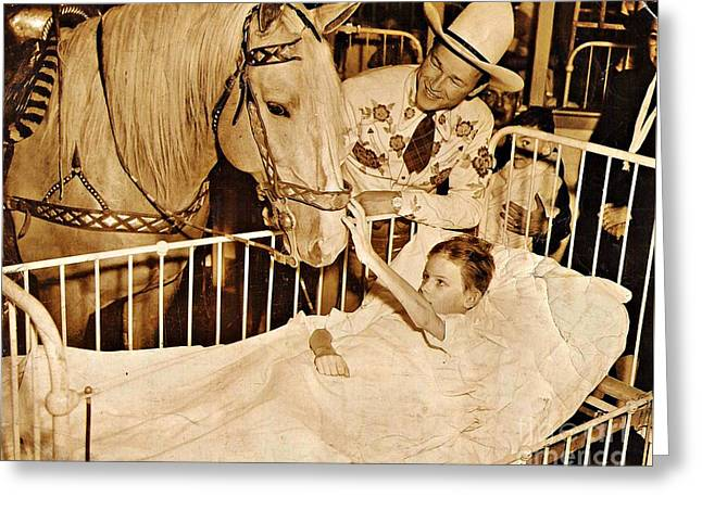 Sarah Loft Photographs Greeting Cards - Roy Rogers and Trigger with a Polio Victim in Pittsburgh Greeting Card by Unknown