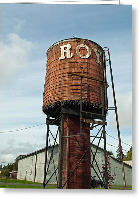 Public Water Supply Greeting Cards - Roy Water Tower Greeting Card by Roger Reeves  and Terrie Heslop