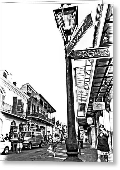 Lamplight Greeting Cards - Royal Afternoon monochrome Greeting Card by Steve Harrington