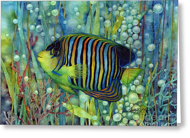 Bubble Greeting Cards - Royal Angelfish Greeting Card by Hailey E Herrera