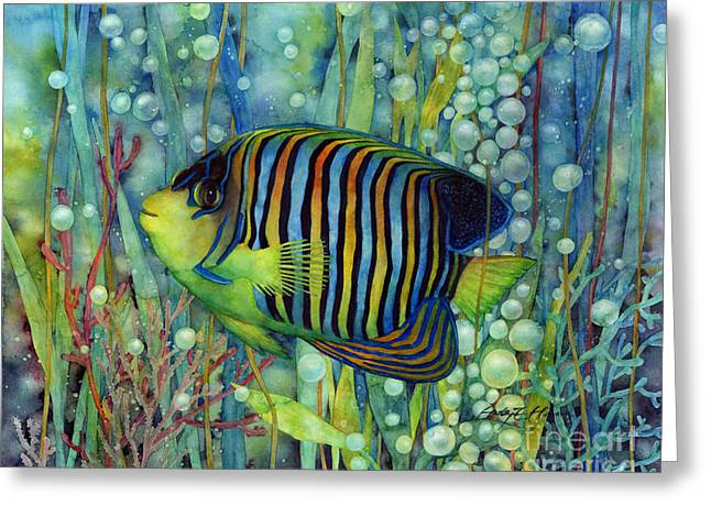 Cheerful Greeting Cards - Royal Angelfish Greeting Card by Hailey E Herrera
