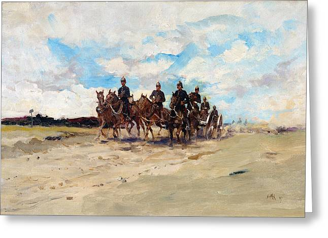 Canons Greeting Cards - Royal Artillery, A Field Gun Team Greeting Card by Edward Matthew Hale