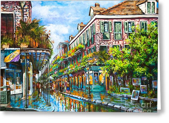 Street Artist Greeting Cards - Royal at Pere Antoine Alley Greeting Card by Dianne Parks