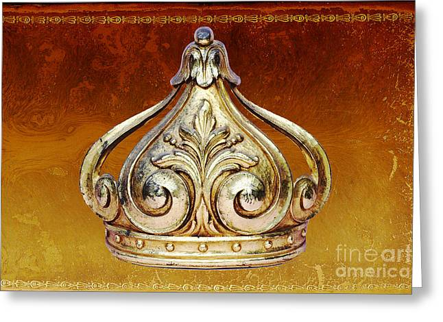Royalty Mixed Media Greeting Cards - Royal Baby Gold Crown on Cognac Gilded Leather Greeting Card by ArtyZen Home