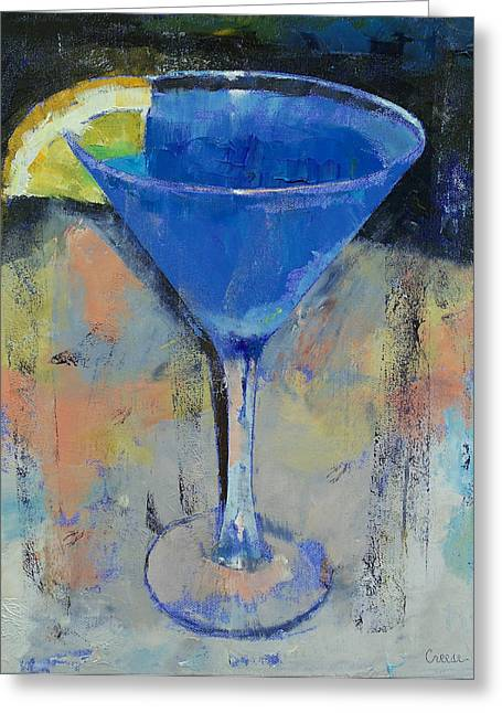 Lemon Art Greeting Cards - Royal Blue Martini Greeting Card by Michael Creese