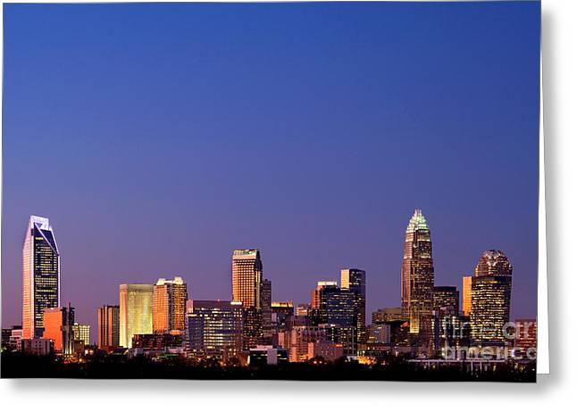 Mecklenburg County Greeting Cards - Royal blue skyline of Charlotte NC Greeting Card by Patrick Schneider