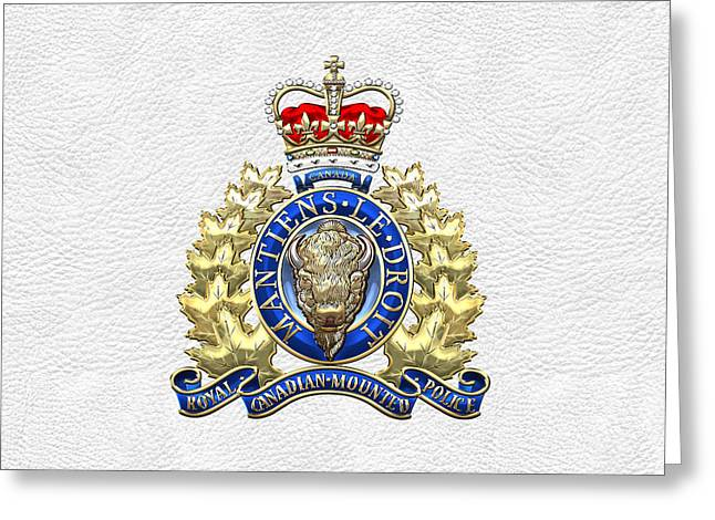 Law Enforcement Digital Art Greeting Cards - Royal Canadian Mounted Police - RCMP Badge on White Leather Greeting Card by Serge Averbukh