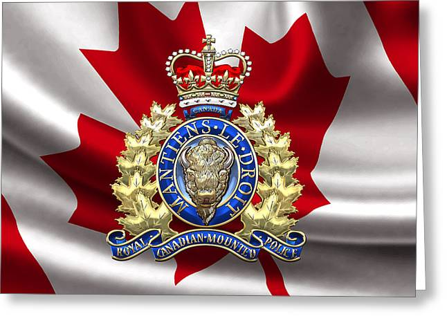 Police Art Greeting Cards - Royal Canadian Mounted Police - RCMP Badge over Waving Flag Greeting Card by Serge Averbukh