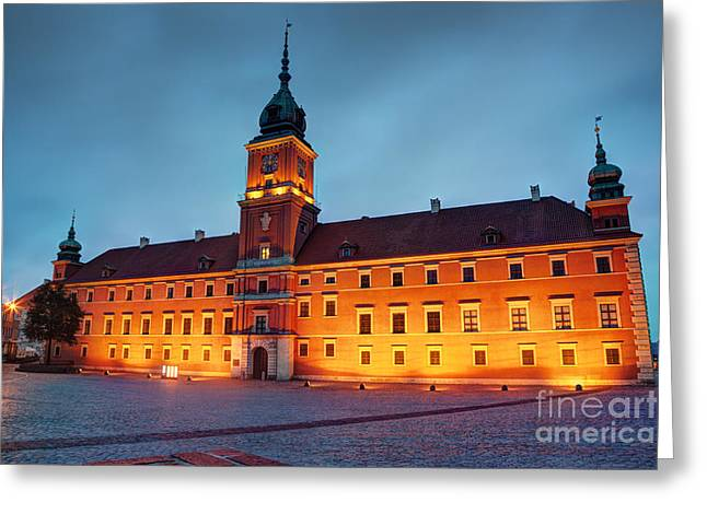 Red Buildings Greeting Cards - Royal Castle in Warsaw Poland at the evening Greeting Card by Michal Bednarek