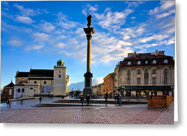 Town Square Greeting Cards - Royal Castle Square and Sigismunds Column Greeting Card by Tomasz Dziubinski