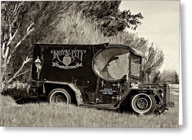 Paddy Wagon Greeting Cards - Royal City Paddy Wagon sepia Greeting Card by Steve Harrington