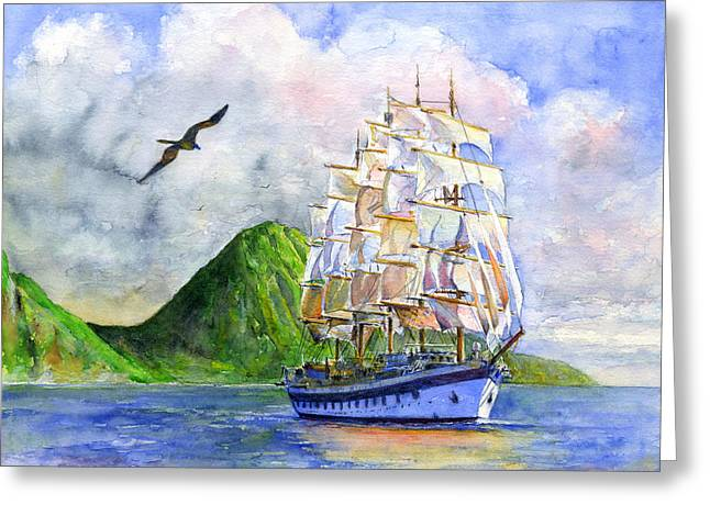 Clippers Paintings Greeting Cards - Royal Clipper leaving St. Lucia Greeting Card by John D Benson