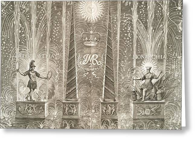 Pater Greeting Cards - Royal Coronation Fireworks, 17th Century Greeting Card by General Research Division