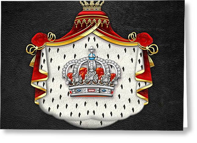 Treasure Trove Greeting Cards - Royal Crown in Silver on Mantel and Black  Greeting Card by Serge Averbukh