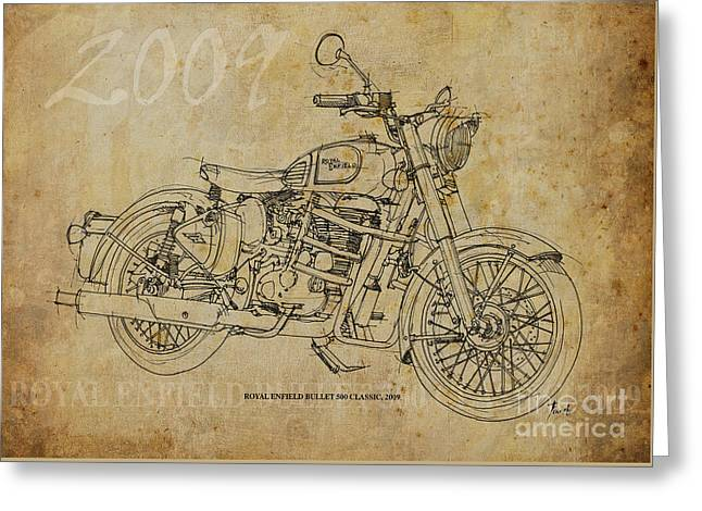 Motorcycles Pastels Greeting Cards - Royal Enfield Bullet 500 Clasic Greeting Card by Pablo Franchi
