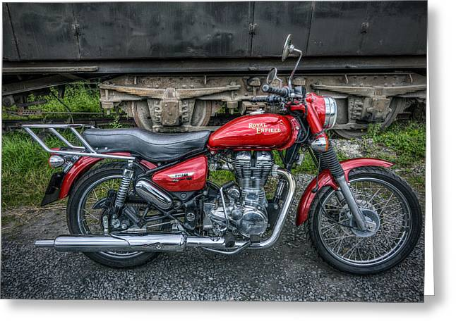 Enfield Greeting Cards - Royal Enfield - Bullet Electra EFI Greeting Card by Ian Mitchell