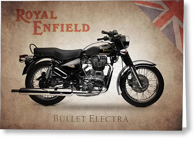 Enfield Greeting Cards - Royal Enfield Bullet Electra Greeting Card by Mark Rogan