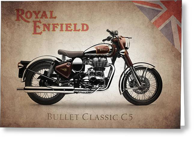 Enfield Greeting Cards - Royal Enfield Classic C5 Greeting Card by Mark Rogan