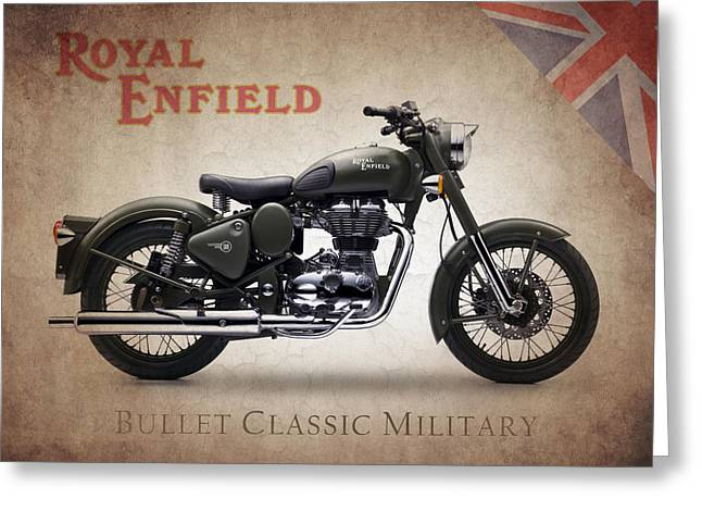 Enfield Greeting Cards - Royal Enfield Classic Military Greeting Card by Mark Rogan