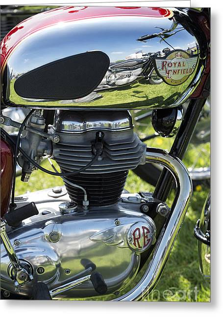 Enfield Greeting Cards - Royal Enfield Motorcycle Greeting Card by Tim Gainey