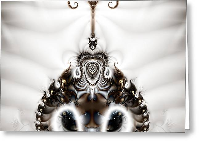 Manley Greeting Cards - Royal Feline - A Fractal Design Greeting Card by Gina Lee Manley