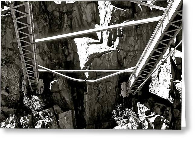 Royal Gorge Bridge Greeting Cards - Royal Gorge Bridge Support B W Greeting Card by Jeff Gater